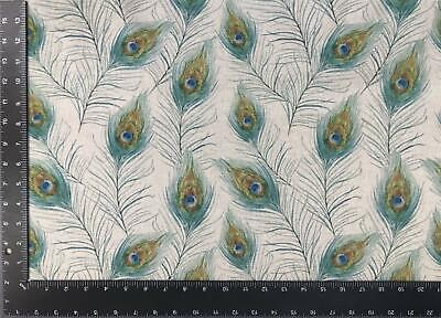 £5.99 • Buy Peacock Feathers Beige Linen Look High Quality Fabric Material *3 Sizes*
