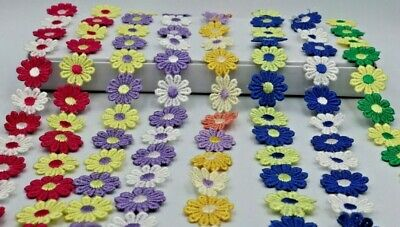 2M Beautiful Daisy Flower Lace And Ribbon Trim  Colours For Sewing And Embellish • 3.25£