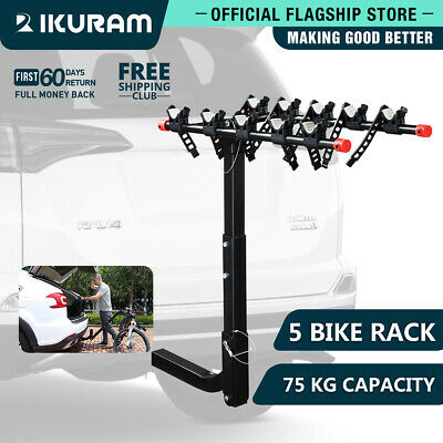 AU124.99 • Buy IKURAM 5 Bike Bicycle Carrier Car Rear Rack 2  TowBar Foldable Hitch Mount Steel
