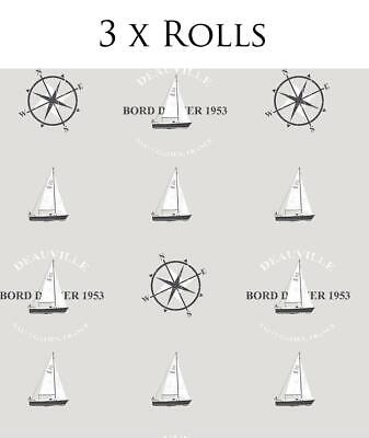 3 X Rolls Nautical Wallpaper Yachts Compass Typography Grey Black Paste Wall • 19.99£