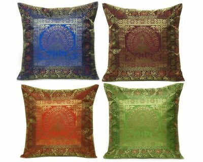 Indian Silk Brocade Cushion Cover Peacock Print Pillow Cover Square Pillowcase • 11.92£