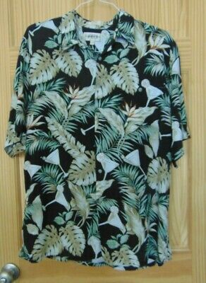 ee1dc3ab Campia Moda Hawaiian Shirt Green Palm Leaves With Martini Glasses Mens XL •  15.00$