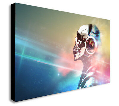 DJ SKULL BANKSY COLOUR Canvas Wall Art Framed Print. Various Sizes  • 16.99£