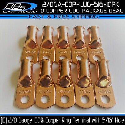 AU18.29 • Buy 10 2/0 Gauge 5/16  Hole OFC Copper Wire Ring Terminal M8 Lug Battery Connector