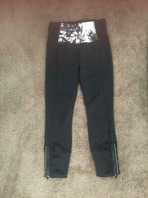 82e81f0f26 Lululemon Crop Yoga Pants Leggings Capri Floral Black Size 4 Zipper Pocket  & Leg • 14.99