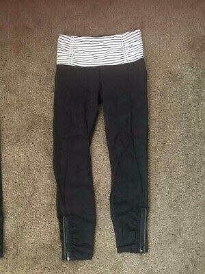 fed69edac3 Lululemon Crop Yoga Pants Leggings Capri Striped Black Size 4 Zipper Pocket  Leg • 15.50$