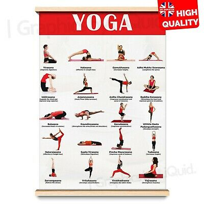 Yoga Poses Poster Exercise Chart Yoga Instruction | A4 A3 A2 A1 | • 2.99£