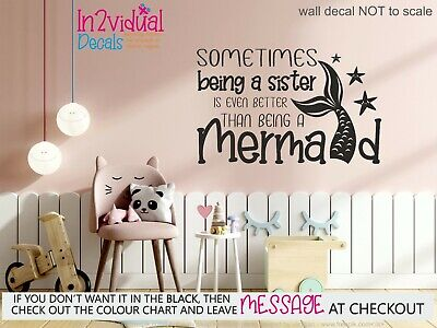 £9.99 • Buy Being A Sister Is Better Than Being A Mermaid Wall Art Sticker Quote Decal