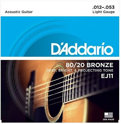 $ CDN8.94 • Buy   D'Addario EJ11 Light Acoustic Guitar Strings 80/20 Bronze 12-53