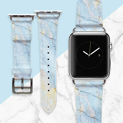 AU49.44 • Buy Blue Marble Apple Watch Strap 38mm Ladies Watch Leather Band Boho Personalized