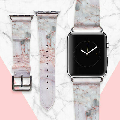AU49.44 • Buy Genuine Leather Watch Straps Pink Marble 42mm Series 2 Watch Band IWatch 38mm