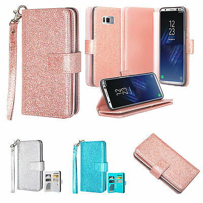 $ CDN12.53 • Buy Samsung Galaxy S8, S8 Edge Plus, Glitter Faux Leather Wallet Case Cover Clutch