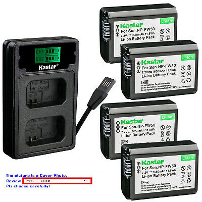 $ CDN39.01 • Buy Kastar Battery LCD Dual Charger For Sony NP-FW50 BC-VW1 & ILCE-6500 Alpha A6500