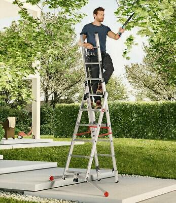 £223.24 • Buy Hailo ProfiLOT S100 Pedal Adj Combi Extension Ladders - Safety On Uneven Ground
