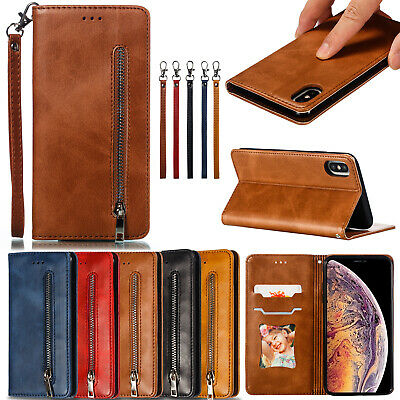 AU16.99 • Buy Classic Flip Magnetic PU Leather Zipper Wallet Stand Lot Card Pocket Case Cover