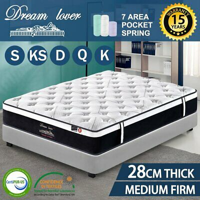 AU186.15 • Buy Dream Lover 28CM Thick Bedding Mattress Queen King Single Double Pocket Spring