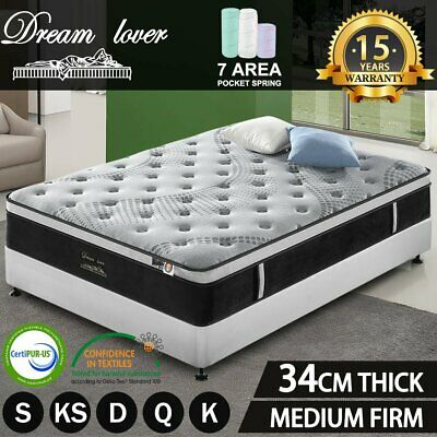AU260.10 • Buy DREAM LOVER Queen Double King Single Mattress Bed Pocket Spring Medium Foam