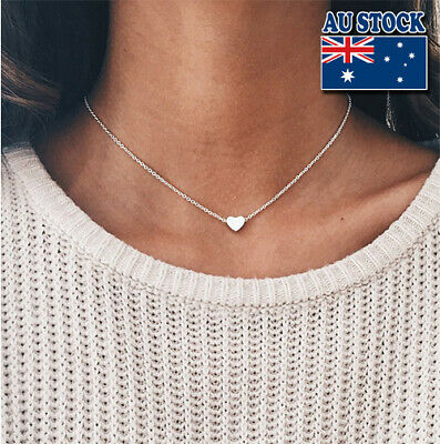 AU5.58 • Buy Genuine 18K Gold Plated Chain With Tiny Love Heart Pendant Choker Necklace