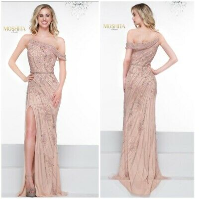 £214.96 • Buy Nwt Color Couture J092 One Shoulder Emblished Pagent Blush Gown $798 Sz-2 Stock