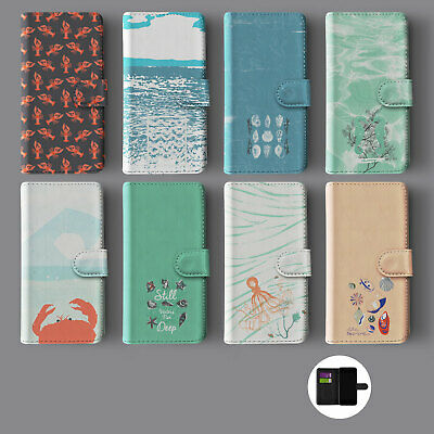 £9.89 • Buy Seaside Summer Shells Crabs Coral Leather Wallet Phone Case For Iphone