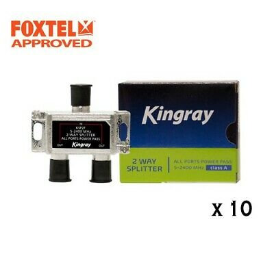 AU37.95 • Buy 10 X TV Antenna Splitter 2-Way F-Type Aerial 5-2400MHz , Foxtel Approved