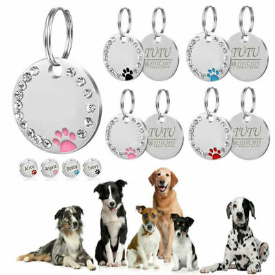 £3.99 • Buy  Personalised ENGRAVING Dog ID/Cat ID Name Bling Tag Puppy Pet ID Tags 10 COLORS