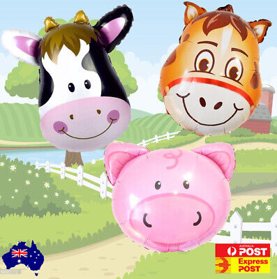 AU7.40 • Buy NEW Farm Animal Balloons Cow Pig Or Horse Helium Or Air FREE AUS POST!