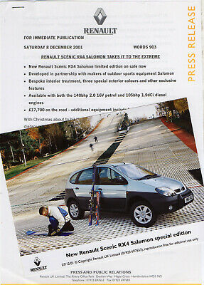 Renault Scenic RX4 'Salomon' Special Edition Launch Press Release/Photo - 2001 • 5.99£