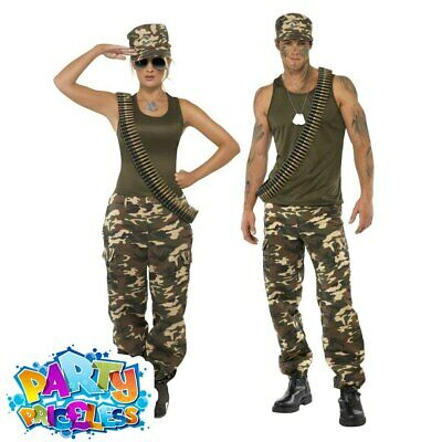 Adult Army Costume Military Soilder Armed Forces Mens Womens Fancy Dress Outfit • 31.99£