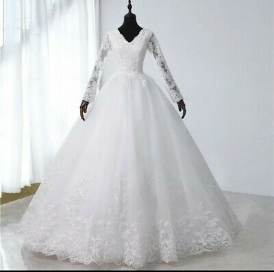 $ CDN340.90 • Buy UK White Ivory Long Sleeve Floor Length A Line Modest Wedding Dresses Size 6-26
