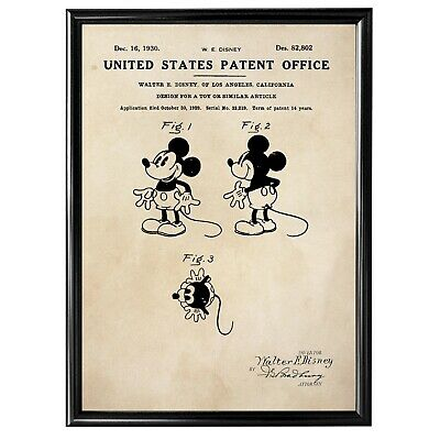 Patent Print - Mickey Mouse / Walt Disney - Vintage Poster Wall Art - A4 Framed • 8.50£