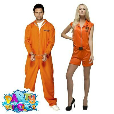 Adult Mens Womens Escaped Prisoner Costume Convict Jailbird Fancy Dress Outfit  • 10.99£