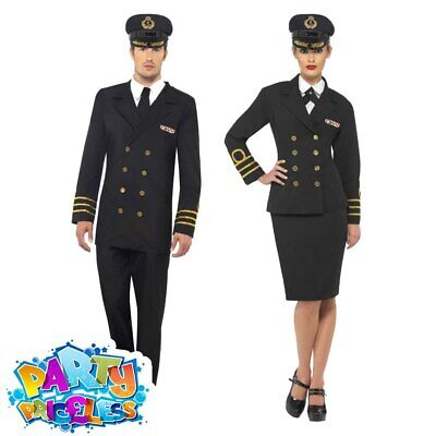 Adult WW2 1940s Navy Captain Officer Costume Mens Womens Fancy Dress Outfit  • 28.49£