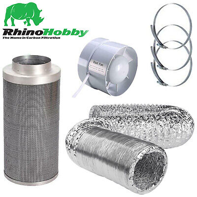 £56.35 • Buy Rhino Hobby Carbon Filter Kit Hydroponics Odour Extraction Fan Ducting
