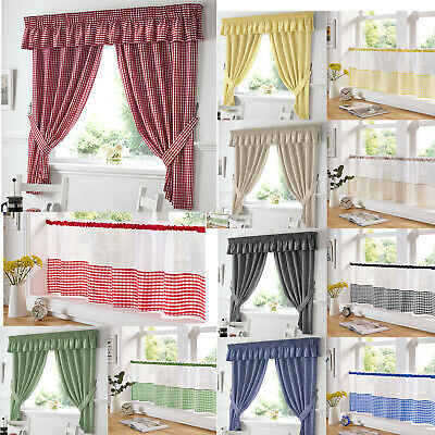 Classic Gingham Checks Pattern Readymade Pencil Pleat Tape Top Kitchen Curtains • 14.95£