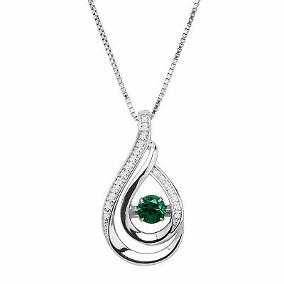 $24 • Buy Created Emerald & White Topaz Teardrop Pendant In Sterling Silver, 18