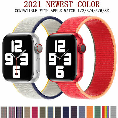 $ CDN8.83 • Buy Woven Nylon Flash Sport Loop Watch Band Bracelet For Apple Watch Series 5/4/3/2