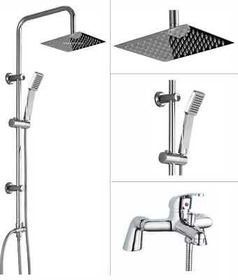 Shower Kit Twin Head Chrome Square Fixed Head Riser Rail With Bath Mixer Tap Set • 69.95£
