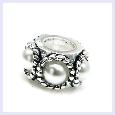 925 Sterling Silver Twisted Rope White Pearl Bead For European Charm Bracelet • 9.28£