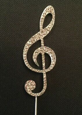 £6.79 • Buy Silver Diamante Music Note Cake Topper Decoration Birthday Party Treble Clef Uk