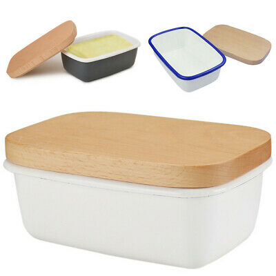 £13.99 • Buy Enamel Butter Dish With Wooden Lid Butter Keeper Container Food Storage Box