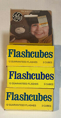 $19.99 • Buy Vintage GE Flashcubes - 3 Packs, Set Of 3 Cubes W/ 12 Flashes In Original Boxes