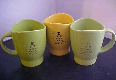 Set 3 Eye Test Chart Vision Mugs Optician Optometrist Sassy Glasses Green Yellow • 6.15£