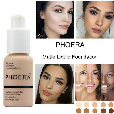 TWIN PACK - Phoera Matte Skin Foundation Full Coverage Face Makeup Concealer UK • 7.99£