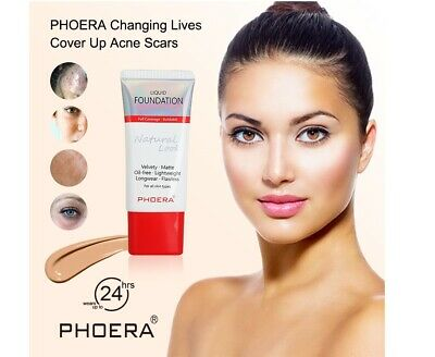 TWIN PACK PHOERA Liquid Foundation Full Coverage Velvety Matt Flawless Makeup UK • 6.99£