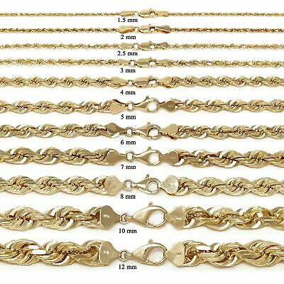 $390.99 • Buy 14k Yellow Gold Solid Diamond Cut Rope Chain Necklace 16 -30  1.5mm To 12mm