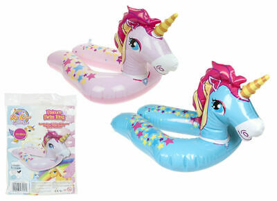 £4.95 • Buy 22  Inflatable Unicorn Rubber Swim Ring Pool Float Lilo Kids Swimming Pink Blue