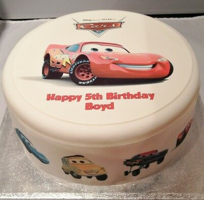 Cars Lightning McQueen Pre-cut Edible Icing Cake Topper Or Ribbon • 5£