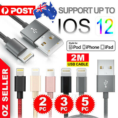 AU11.95 • Buy 5x USB Cable Charger For Apple IPhone 8 7 6 5 IPad X Nylon 2M Cord Fast Charge