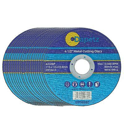 £8 • Buy 20 X 115mm 4.5  ULTRA THIN METAL CUTTING BLADE DISC 1/2  STEEL & STAINLESS 1MM